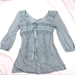 Free People xs lace peasant top blue 3/4 Sleeves